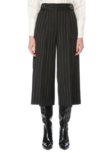 NetWork NetWork 1077172 Kemerli Çizgili Cropped Kadın Pantolon Siyah